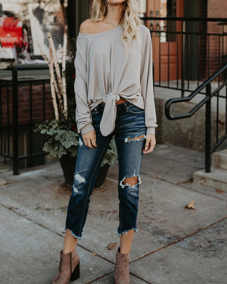 Fashion Knotted Casual Blouse