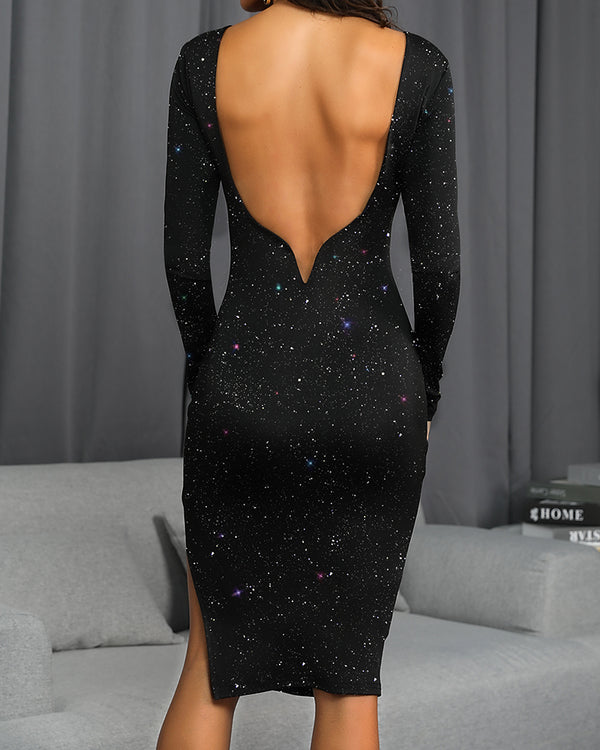 Glitter Open Back Sleeve Bodycon Dress
