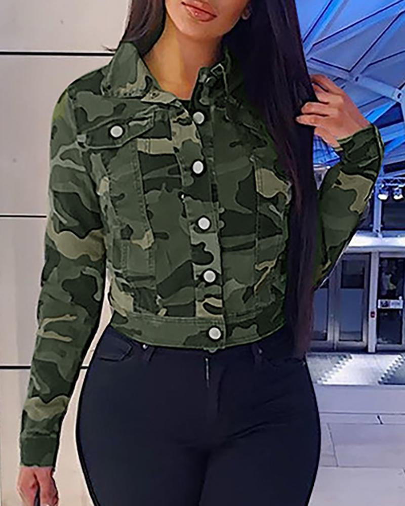 Camouflage Print Long Sleeve Casual Shirt