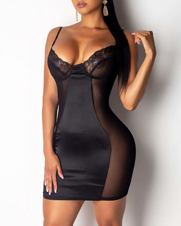 Spaghetti Strap Lace Sheer Mesh Babydoll Dress