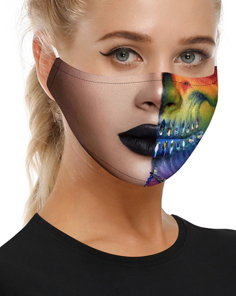 Face Print Mouth Mask Breathable Washable And Reusable With 2PCS Replaceable Filter