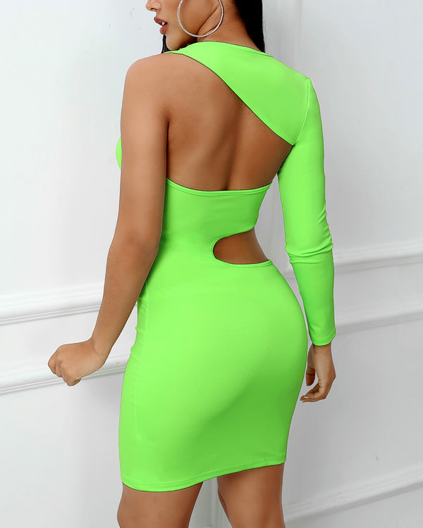 Solid One Shoulder Cut Out Bodycon Dress