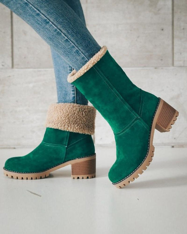 Faux Shearling Lined Biker Boot