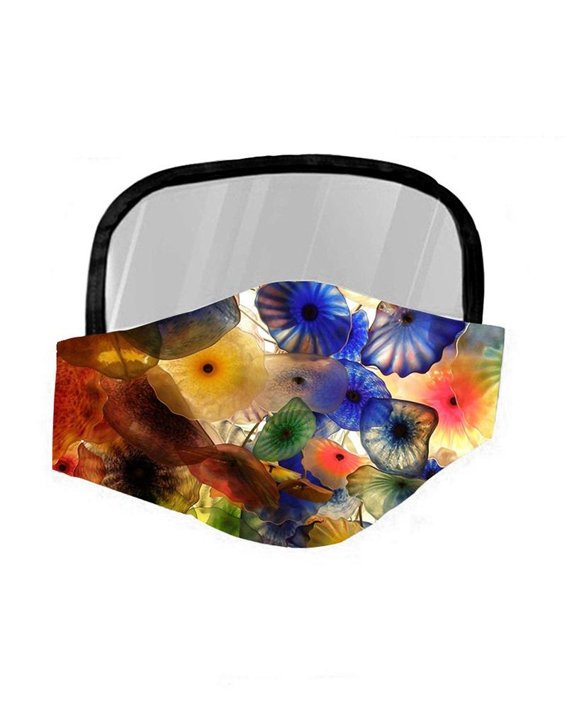 Floral Print Breathable Mouth Mask With Eyes Shield