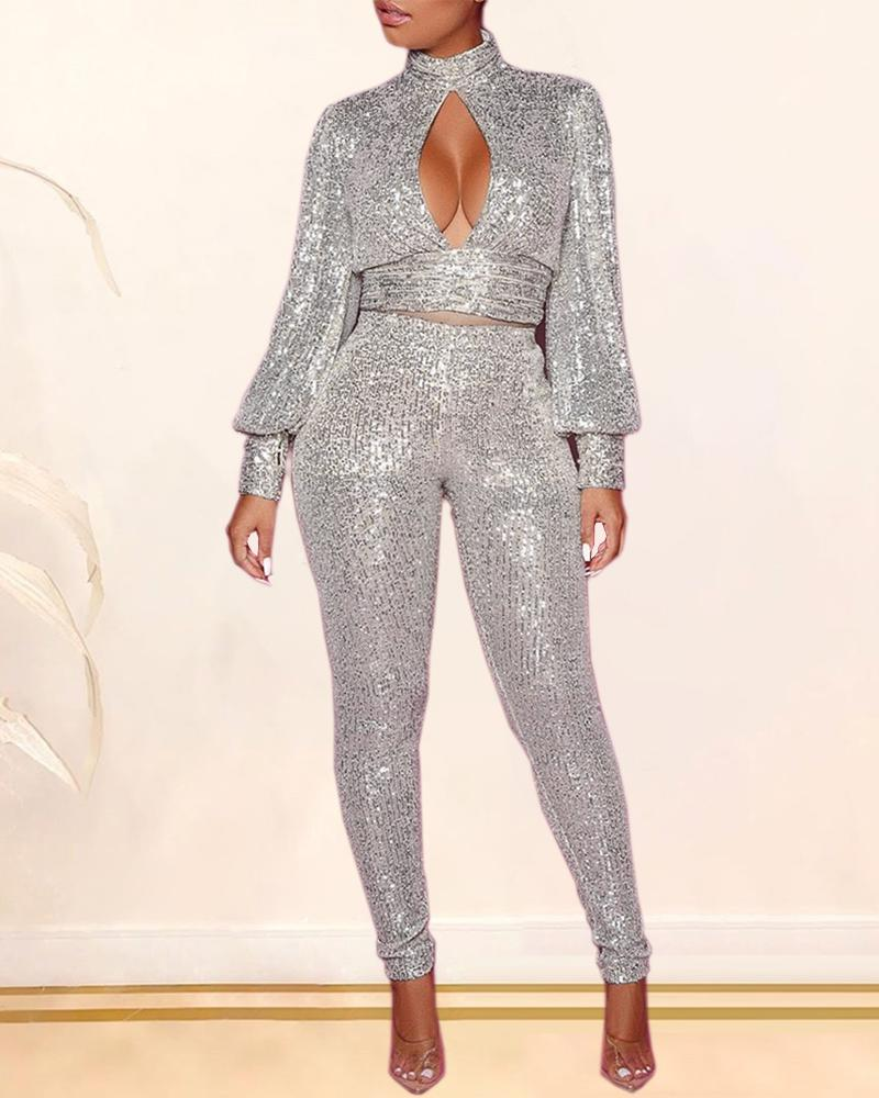 Sequins Backless Cut Out Chest Top & Pants Sets