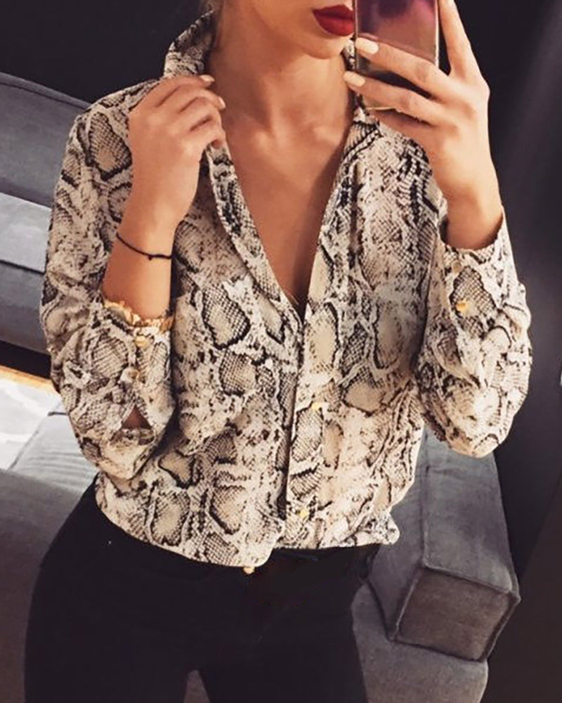 Button Design Long Sleeve V Neck Shirt