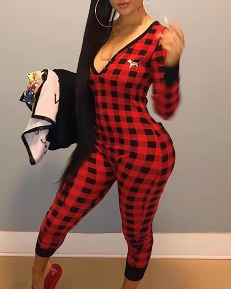 Plaid Print Deep V-Neck Cropped Jumpsuits