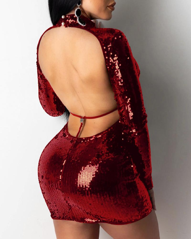 Glitter Backless Tied Sequins Dress