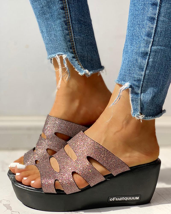 Solid Hollow Out Platform Sandals