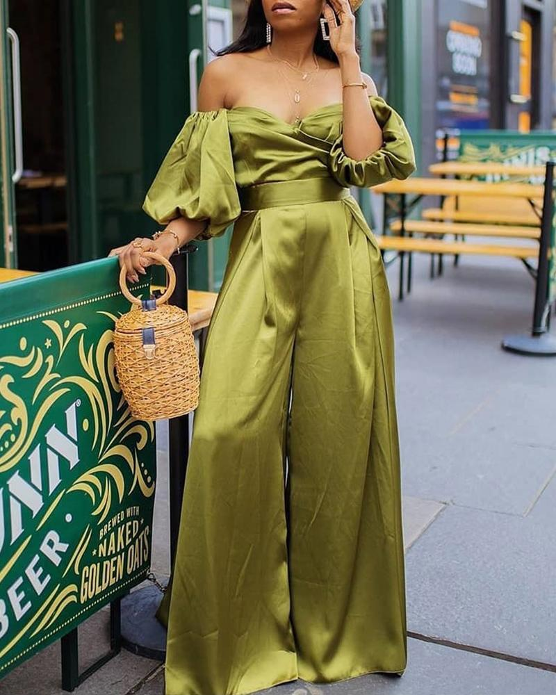 Off Shoulder Puffed Sleeve Jumpsuits