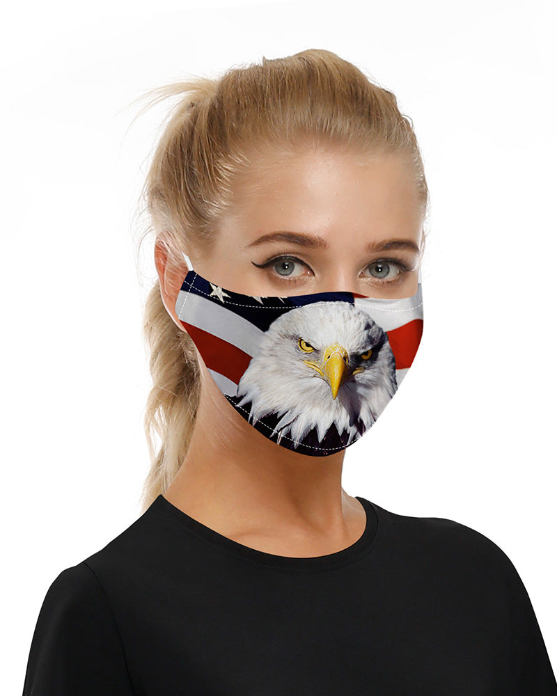 Animal Flag Print Mouth Mask Breathable Washable And Reusable With Replaceable Filter