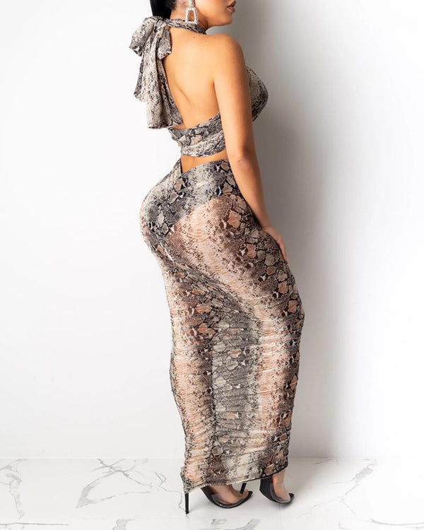 Snakeskin / Cheetah Print Crop Top & Ruched Skirt Sets