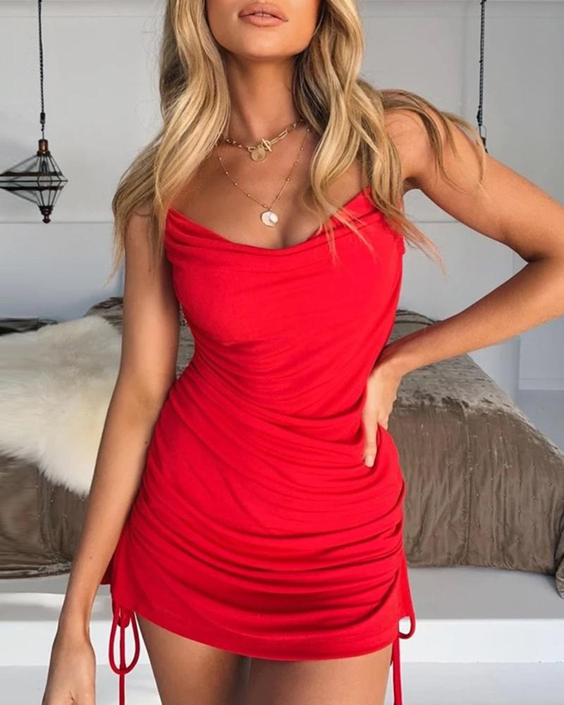 Spaghetti Strap Drawstring Ruched Bodycon Dress