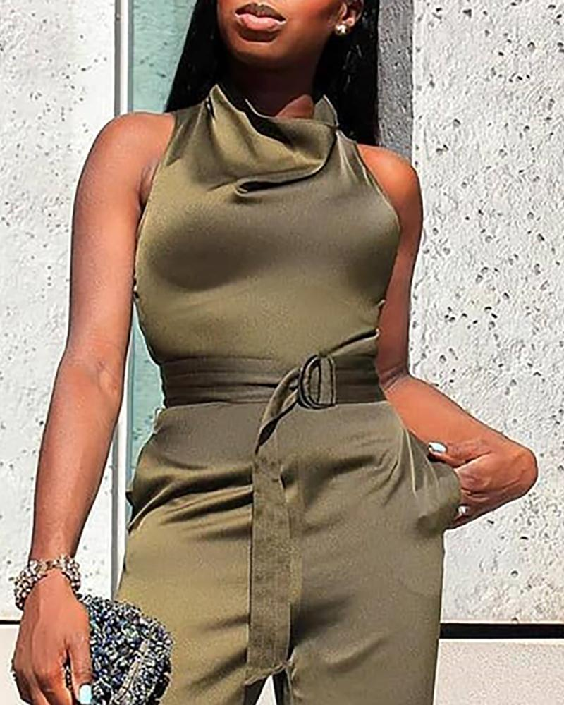 Solid Sleeveless Heap Neck Belted Jumpsuit