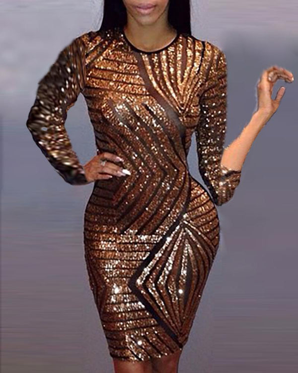 Glitter Stripe Design Sequins Dress