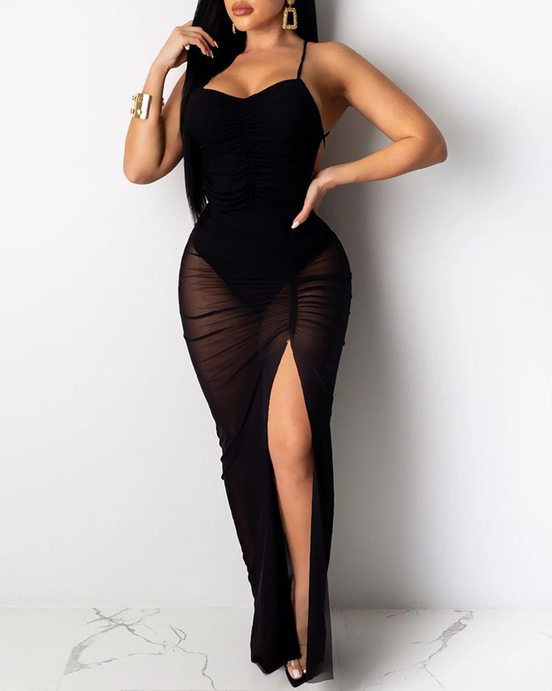 Spaghetti Strap Ruched Slit Backless Party Dress