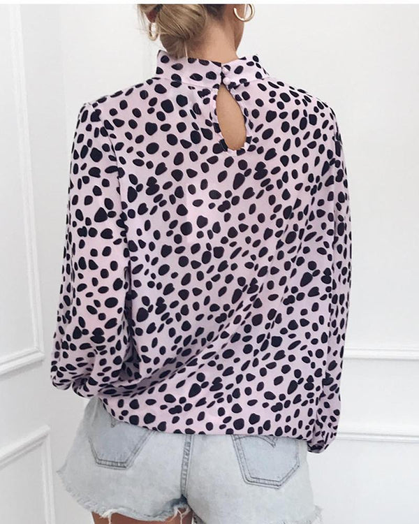 O-Neck Dots Print Long Sleeve Tops
