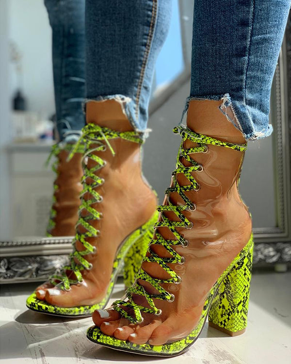 Snakeskin Lace-Up Chunky Heeled Sandals
