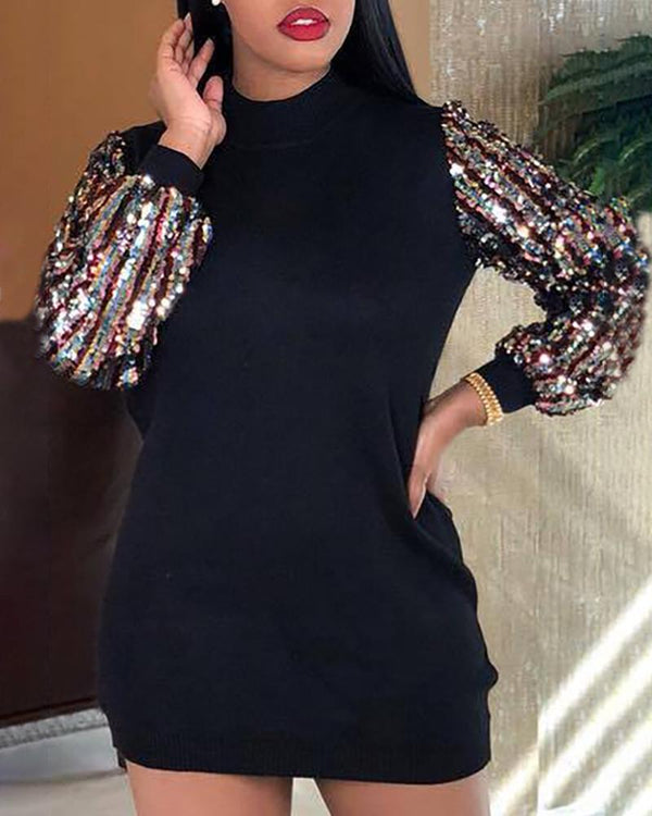 Mock Neck Sequins Insert Long Sleeve Bodycon Dress