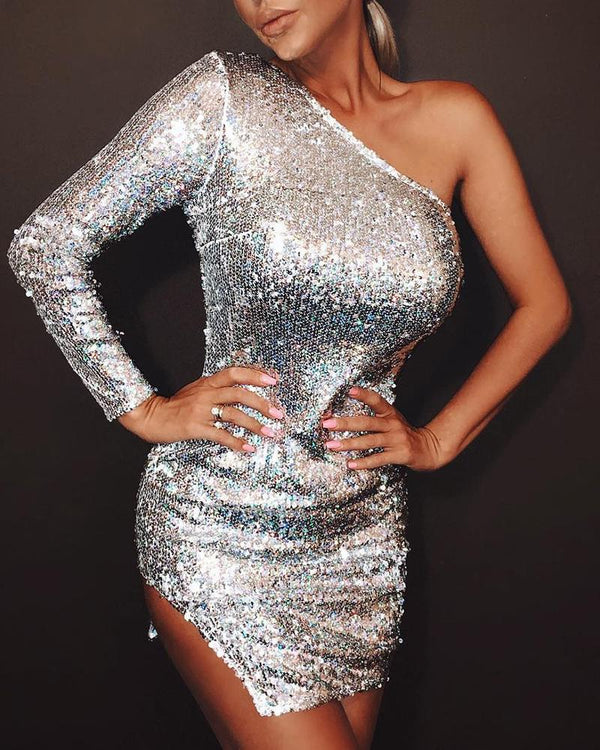 One Shoulder Sequin Bodycon Dress
