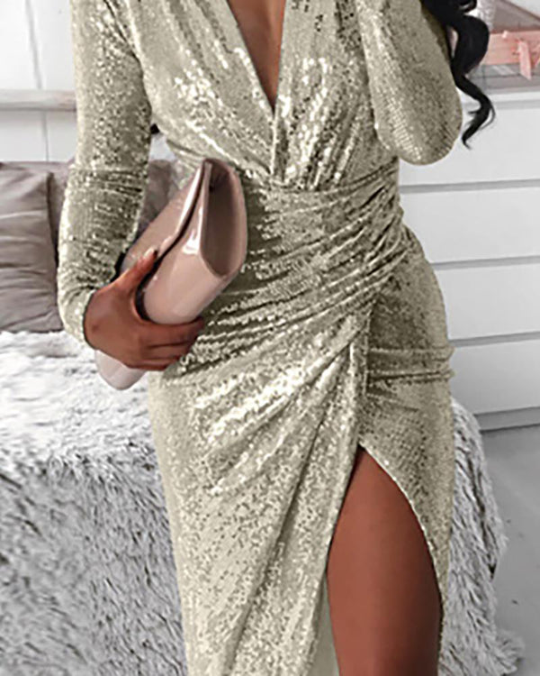 Glitter Plunge Long Sleeve High Slit Ruched Dress