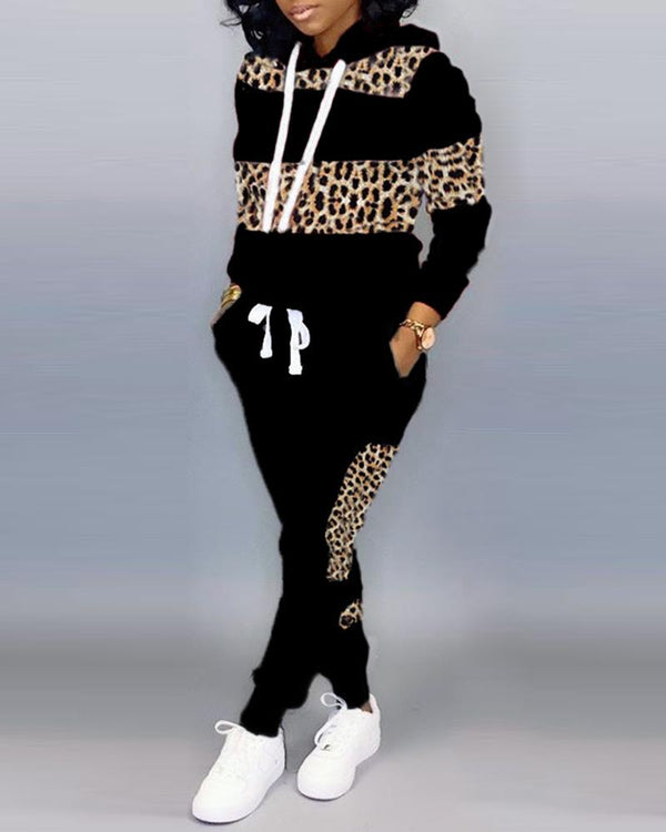 Hooded Colorblock Leopard Drawstring Sweatshirt & Pants Sets