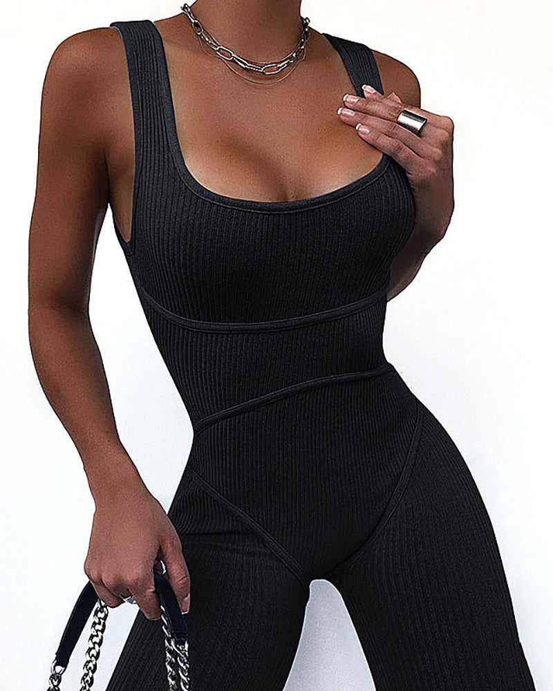 Thick Strap U-Neck Fitted Romper