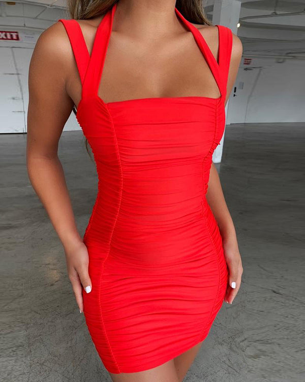 Halter Thin Strap Ruched Mini Dress