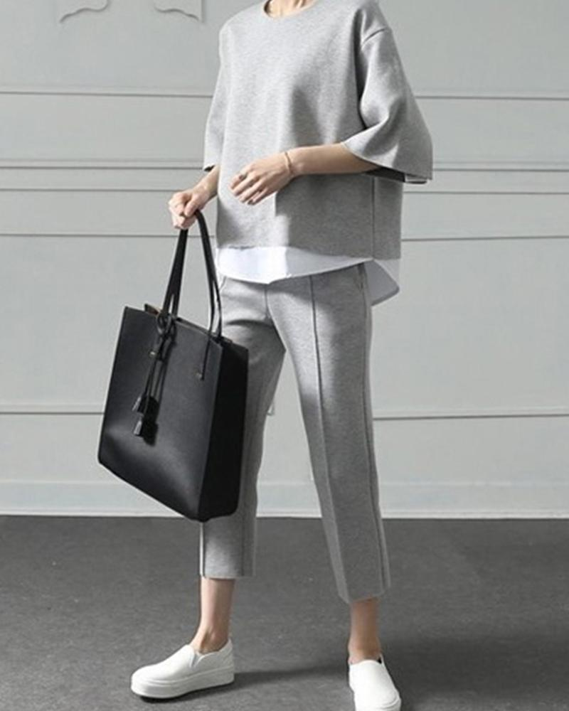 Layered Contrast Top & Pants Set