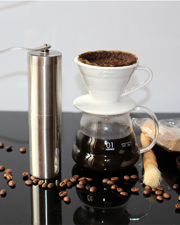 Silver Coffee Grinder Mini Stainless Steel Hand Manual Handmade Coffee Bean Burr Grinders
