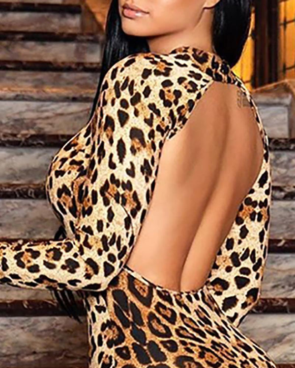 Leopard Design Open Back Bodycon Dress
