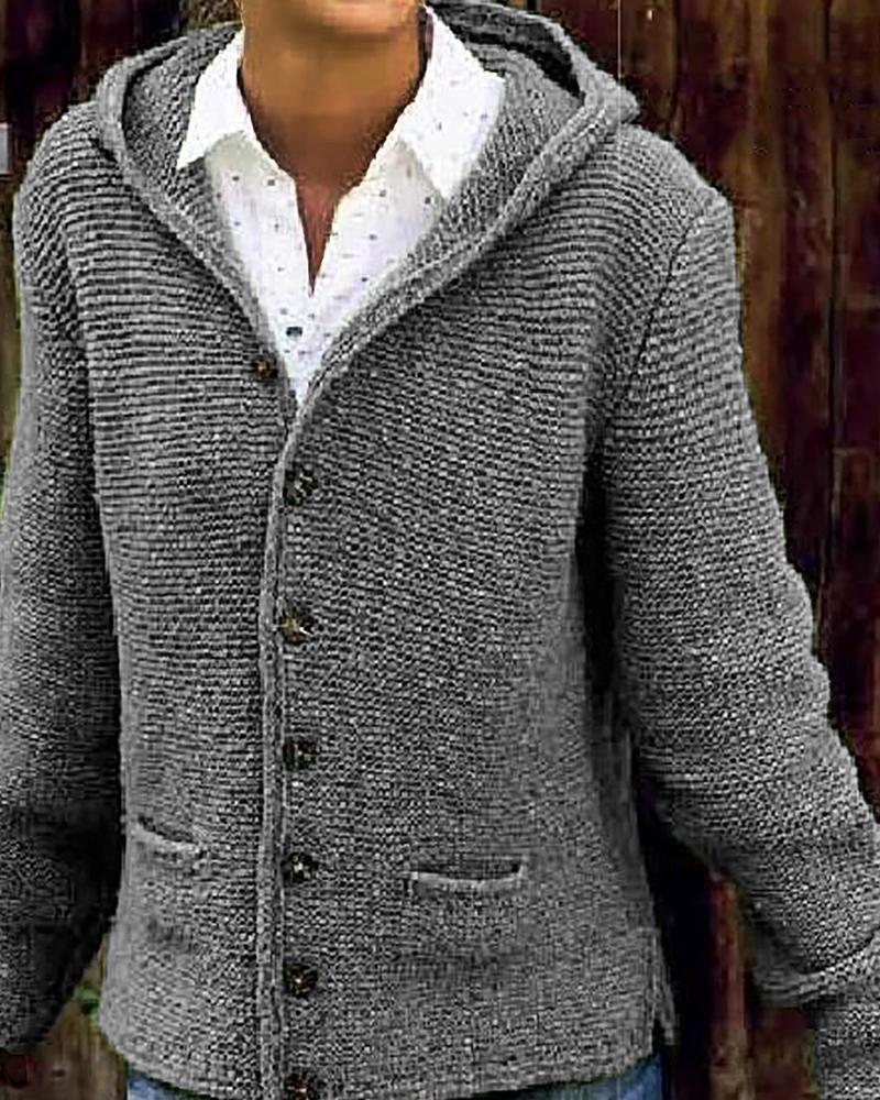 Hooded Button-Up Knit Cardigan