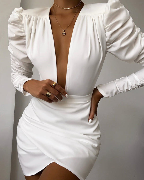 Solid Puff Sleeve Ruched Bodycon Dress
