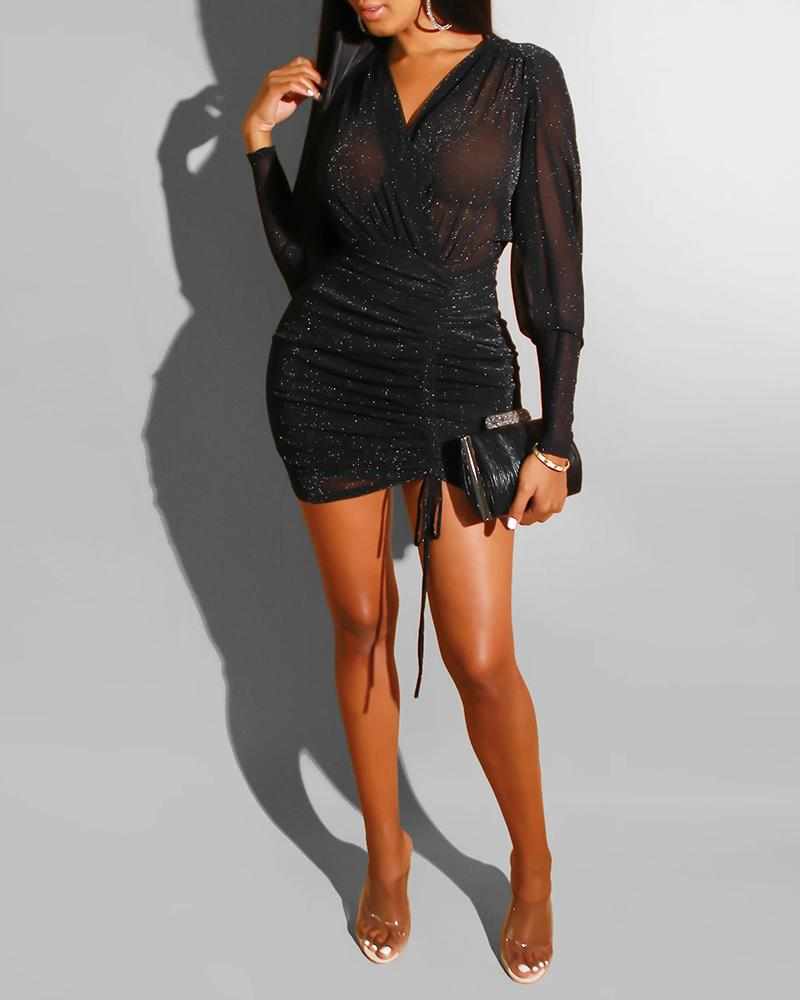 Glitter V Neck Ruched Drawstring Bodycon Dress