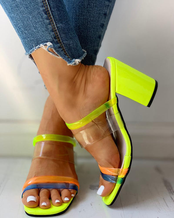 Colorblock Open Toe Chunky Heeled Sandals