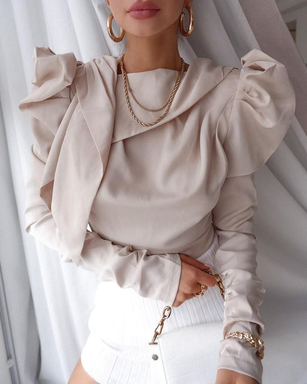 Puff Sleeve Solid Drape Blouse