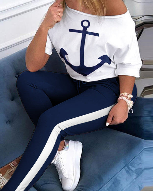 Skew Neck Half Sleeve Anchor Print Top & Colorblock Drawstring Pant Sets