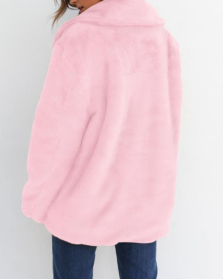 Solid Fluffy Open Front Long Sleeve Coat