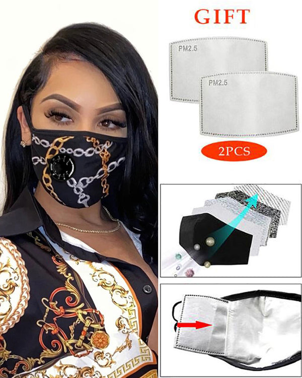 Chain Print Breathing Washable Valve Face M .a. s. k (2 filters as gift)
