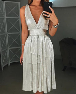 Glittering V-Neck Layered Design Pleated Party Dress