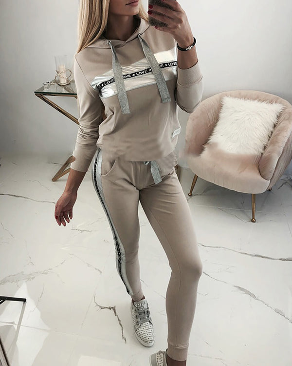 Hooded Drawstring Letter Tape Insert Sweatshirt & Pants Sets