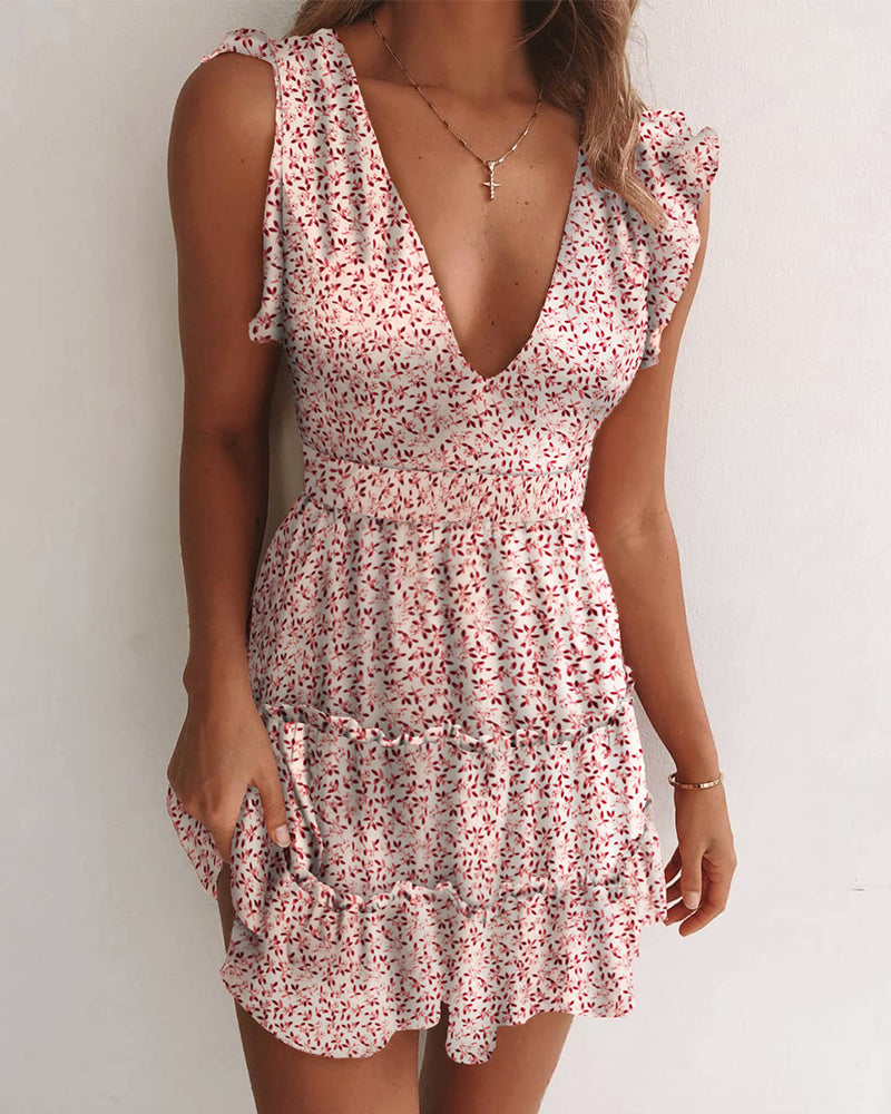 Floral Print V Neck Ruched Dress