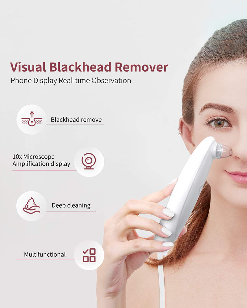 Visual Blackhead Remover Facial Pore Vacuum with Camera with 3 Replaceable Tips
