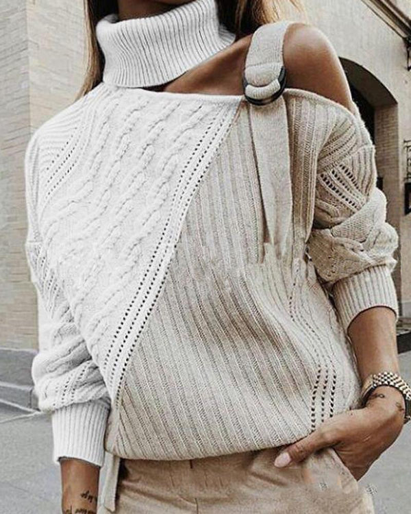 Pointelle Cold Shoulder Contrast Sweater