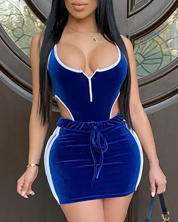 Thin Strap Contrast Binding Bodysuit & Skirt Sets
