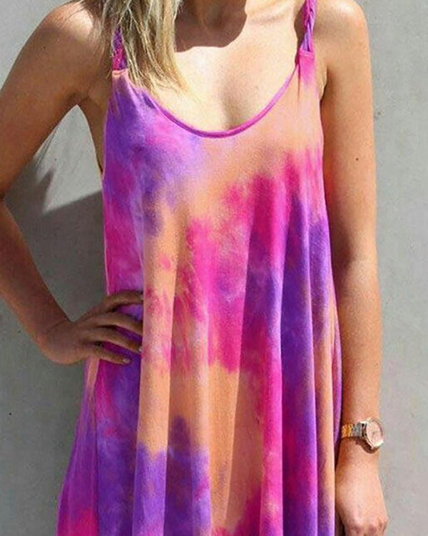 Tie Dye Print U-neck Casual Dress