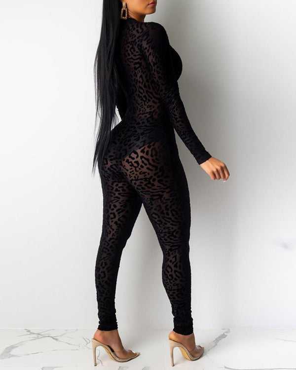 Abstract Leopard Print Semi Sheer Mesh Jumpsuit