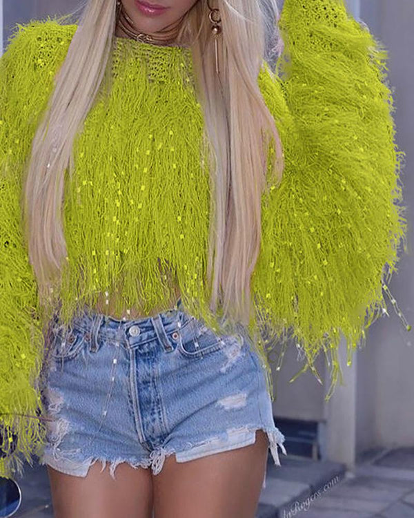 Solid Round Neck Fringed Fluffy Crop Sweater