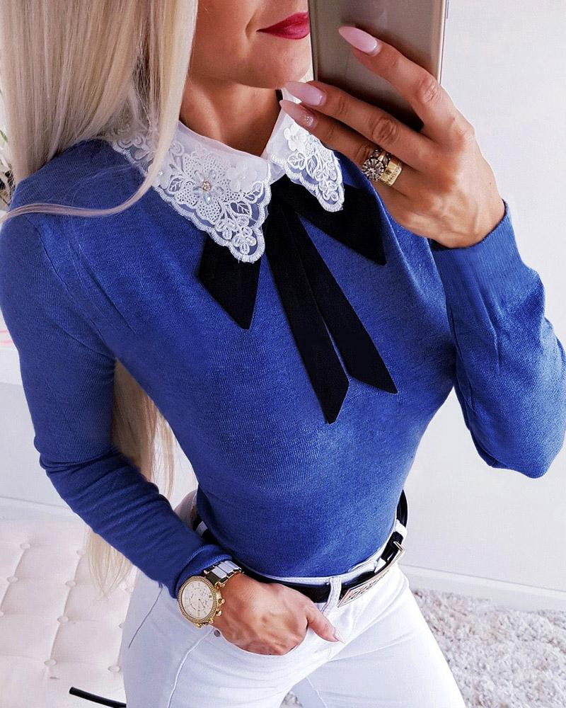Crochet Lace Insert Bowknot Long Sleeve Blouse 19