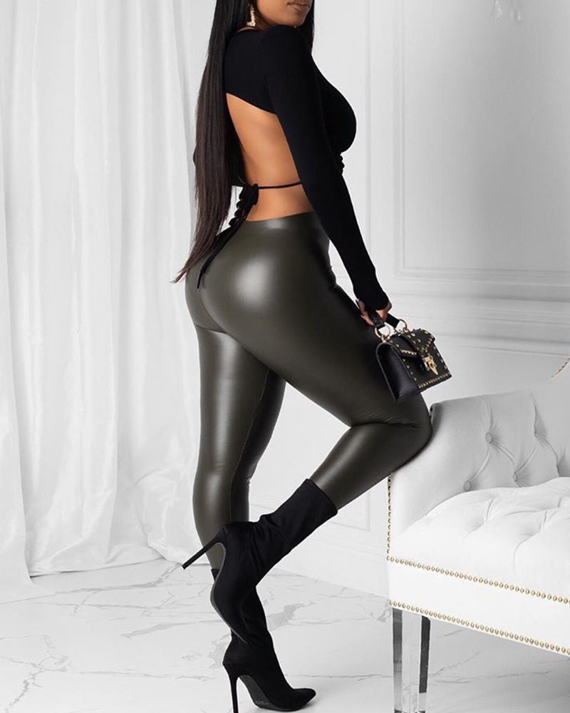 Faux Leather Solid Pants